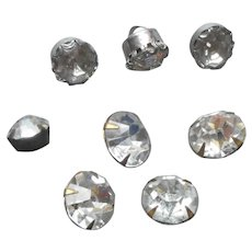 Rhinestone Buttons Vintage 8 Miscellaneous Single Stone