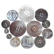 Carved Mother Of Pearl Buttons 13 Vintage And Antique Gray Brown