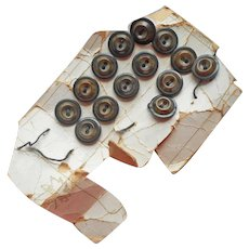 Vegetable Ivory Buttons Set 14 Antique Black brown