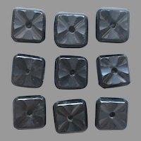 Antique Black Glass Buttons Set 9 Square