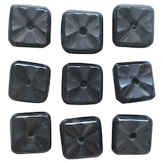 Antique Black Glass Buttons Set 9 Square