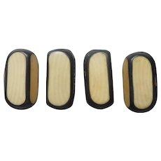 Celluloid Buttons 1910s Black Faux Ivory 4 Antique