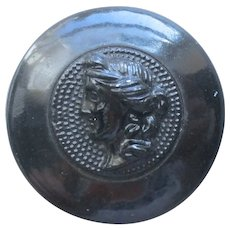 Victorian Glass Metal Cloth Button Greco Roan Goddess Head Bust Antique