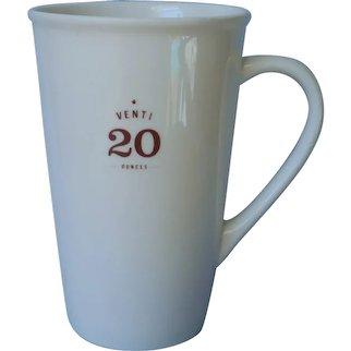 Retired Venti 20 Ounces Starbucks China Mug White Brown Lettering