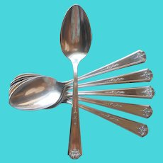 Queen Bess 1924 6 Teaspoons Vintage Silver Plated