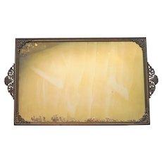 1920s Perfume Tray Ormolu Mounts Vintage Metal Mirror