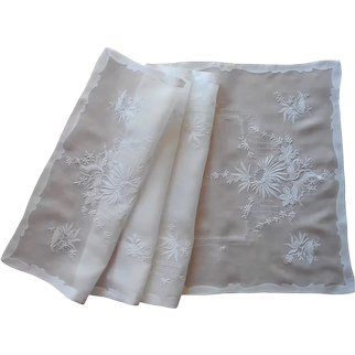 Organdy Runner Vintage 1950s Fine Hand Embroidery TLC