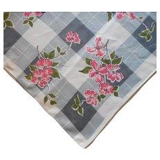 Linen Printed Tablecloth Vintage Kitchen Gray Pink White Print