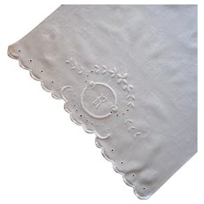 Monogram R Towel Antique White Work Hand Embroidery