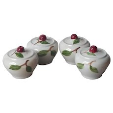 Orchard Ware Cherry 4 Shakers California Pottery Vintage Cherries Salt Pepper