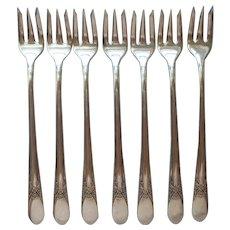 Beloved 1940 Seafood or Cocktail Forks Vintage Silver Plated Set 7
