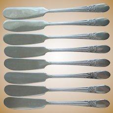 Beloved 1940 Butter Spreader Knives Vintage Silver Plated Set 8
