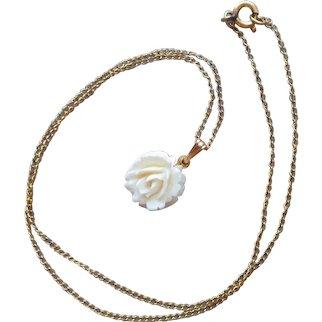 Dainty Gold Filled Carved Bone Rose Drop Pendant Necklace Vintage
