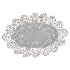 Tray Doily Antique Linen Bobbin Lace Cutwork Embroidery