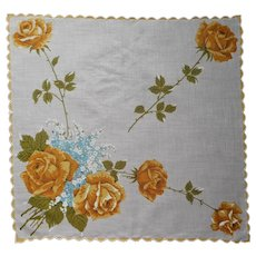 Vintage Hankie Unused Print Golden Yellow Roses Turquoise Forget Me Nots