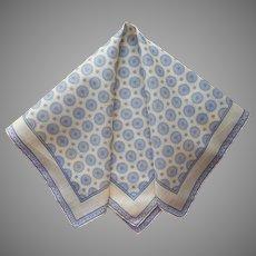 Men's Handkerchief Large Pocket Square Vintage Foulard Print Cotton Yellow Gray Black