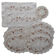 Hand Embroidered Group Placemats Doilies Brown Onion Vintage Linen
