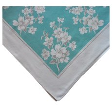 Vintage Tablecloth Square Printed Kitchen Teal Green Gray White