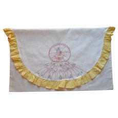 Southern Belle Pillowcase Vintage Crinoline Lady Yellow Ruffles Hand Embroidery