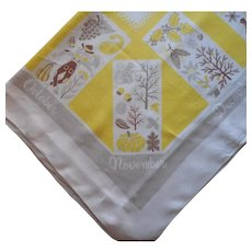 Seasons Months Printed Linen Vintage Tablecloth Kitchen Yellow Gray Hardy Craft