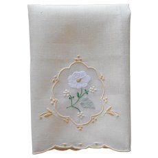 Madeira Guest Towel Unused Vintage Yellow Linen Organdy Hand Embroidery