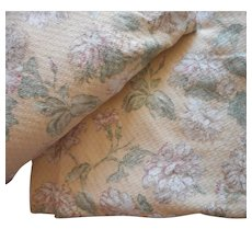 Vintage Curtain Panels Curtains Thick Soft Bark Cloth Type Pale Yellow Floral 63.5 Inches long