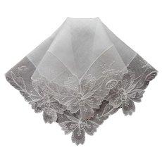 Unused Vintage Hankie Net Lace Linen All White