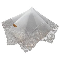 Vintage Unused hankie Linen Net Lace Roses Swiss Handkerchief All White