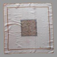 Anne Klein For Robinson Golluber Silk Neckerchief Pocket Square Scarf Vintage