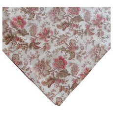 Tablecloth 120 x 60 Heavy Cotton Print Brown Pink Green Cream
