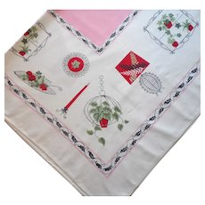 Vintage 1950s Tablecloth Printed Pink Red Black White MCM Decor Objects