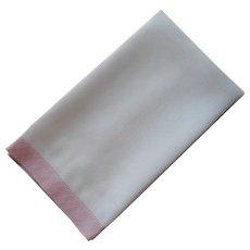 1920s Towel Pink Linen Borders White Damask Vintage