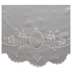 Cutwork Centerpiece Large Linen Antique Hand Embroidery TLC