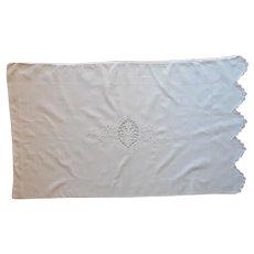 Pillowcase Italian Cotton Cutwork Vintage Single 1920s