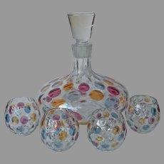 Borske Sklo Nemo Decanter 4 Roly Poly Glasses Set Vintage Mid Century Glass