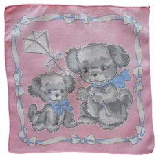 Child's Hankie Vintage Puppies Fly Kite Print