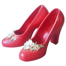 Red Plastic Shoes Shell Art Decoration Vintage Pair Decorative Pin Cushion Style