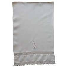 Monogram S Small or Baby Pillowcase Antique Linen Crocheted Lace