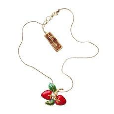 Fernando Originals Necklace Red Green Enamel Strawberries Original Tag Vintage 1980s