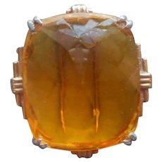 1940s Fur Clip Topaz Yellow Glass Stone Vintage