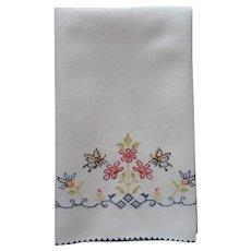 ca 1920 Towel Hand Embroidery Butterflies Flowers Linen