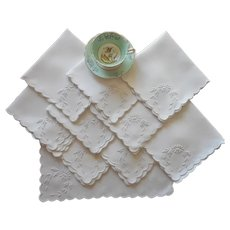 Antique Napkins 1910s White Linen White Work Hand Embroidery Set 10