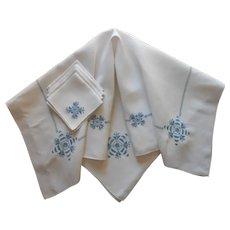 1920s Italian Work Tea Bridge Tablecloth Napkins Set Blue Hand Embroidered Vintage