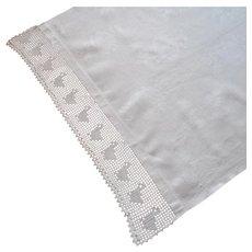 Nursery Towel Antique Filet Crocheted Lace Ducks Linen Damask TLC