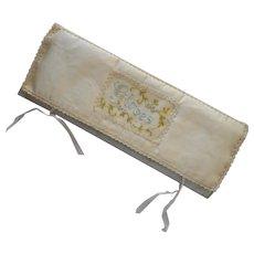 Glove Fold Antique Hand Embroidered Storage Case Cotton Sateen