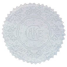 Cake Antique Filet Crocheted Doily