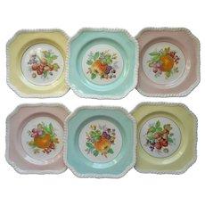 Vintage Johnson Brothers Square Fruit Salad Dessert Plates 6
