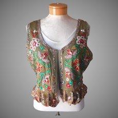 1960s Dirndl Vest Top Bodice Vintage Beads Sequins German Oktoberfest