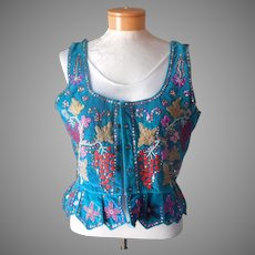 1960s Dirndl Vest Top Bodice Vintage Beads Sequins German Oktoberfest Velvet