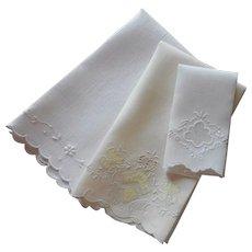 1920s Linen Fingertip Hand Towels 3 Vintage Linen Hand Embroidery